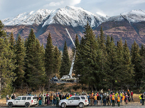 Center, just below the white crane arm, is the towering Lutz spruce which will soon adorn the West Lawn of Capitol Hill in Washington, D.C. (Photo credit: Chugach National Forest, U.S. Forest Service)